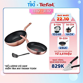 Bộ chảo Tefal Cook&Shine gồm 3 món Chảo chiên 24cm, Chảo xào 28cm và Vá - Chống dính - Báo nhiệt thông minh - Thích hợp mọi loại bếp - Hàng chính hãng