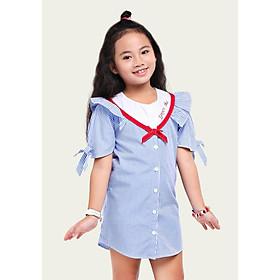 Đầm Suông Cho Bé Gái Phối Cổ Bèo YF - Sọc Đỏ Và Sọc Xanh - Dáng Sơ Mi Có Nút Cài - Tay Thắt Nơ - 9DX545