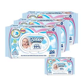 Combo 3 gói Khăn giấy ướt Bobby Nano Bạc kháng khuẩn không mùi 100 tờ (Xanh) + Tặng 1 gói khăn ướt (xanh)