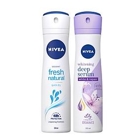 Bộ đôi Xịt Ngăn Mùi NIVEA Fresh Nature Tươi Mát Tự Nhiên (150ml) - 81601 & Xịt Ngăn Mùi Nivea Serum Trắng Mịn Hương Hoa Lily (150ml) 85312