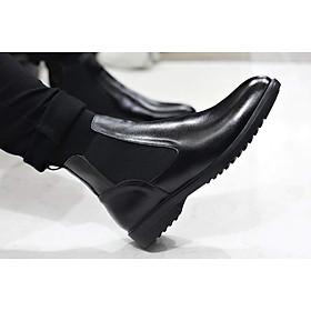 Giày Nam Chelsea Boot Cao Cổ Cao Câp SHOES 2H - 54 - Da Bò Thật Trơn Xịn Không Nhăn Màu Đen