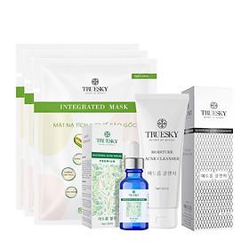 Bộ ngừa mụn da mặt Truesky Premium M02 gồm 1 serum ngừa mụn tràm trà 20ml + 1 sữa rửa mặt than hoạt tính 60ml + 3 miếng mặt nạ dưỡng da Truesky