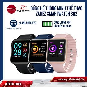 Đồng hồ thông minh SQ2 Smartwatch tích hợp 8 môn thể thao, cảnh báo đột quỵ, đo thời gian ngủ, đo huyết áp, đo chỉ số SPO2, chống nước IP67, Pin 10 ngày thương hiệu Zadez - Hàng chính hãng