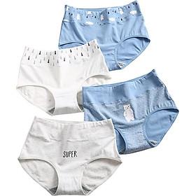 Langsha women's underwear female 95% cotton high waist cute little bear girl middle waist student no trace briefs underwear girls pants head bear high waist -4 M