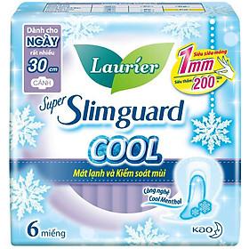 Băng Vệ Sinh Laurier Super Slimguard Cool Mát Lạnh & Kiểm Soát Mùi 30cm - 6 Miếng
