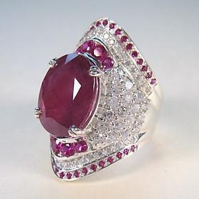 Combo Nhẫn Xoàn, Kiểu dáng Ruby, Hợp Nam Nữ Phong Phong cách Châu Âu, chất liệu hợp kim tráng Platin, đính 95 viên đá,  Kèm túi đựng Cung Hỷ