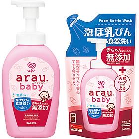 Combo Nước Rửa Bình Arau Baby Chai 500ml Và Túi 450ml