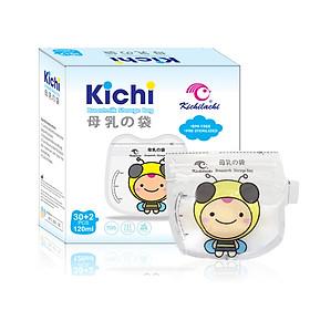 Hộp 32 Túi trữ sữa Kichilachi 120ml an toàn không BPA,2 khóa ziper có vòi rót