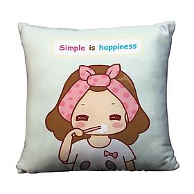Gối Ôm Vuông Simple Is Happiness GVCP034 (36 x 36 cm)