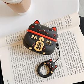 Airpods Pro Case Ốp Bảo Vệ Cho Airpods Pro Mèo May Mắn Lucky _Tặng Kèm Móc Khóa Dây Da