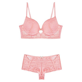 Đồ Lót Nguyên Bộ Pink Lace Keyhole Bra Set Viviane AN1217_19 - Hồng