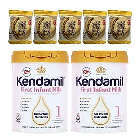 Combo 2 hộp Sữa bột nguyên kem KENDAMIL số 1 FIRST INFANT MILK 900g (0-6 tháng tuổi) - Tăng sức đề kháng, tăng cân, phát triển chiều cao và trí não – Tặng 5 bánh quy Nhật Bản hiệu Aee