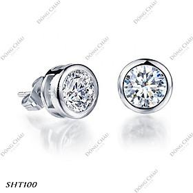 Hoa tai đích đẩy một hột đính viên kim cương nhân tạo bạc Ý cao cấp - SHT100
