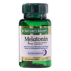Thực Phẩm Chức Năng Hỗ Trợ Điều Hòa Giấc Ngủ Nature's Bounty Melatonin 5Mg (60 Viên) - Trắng