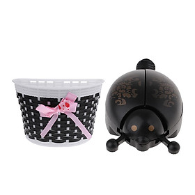 Children Bike Handlebar Front Basket + Cycle Novelty Ladybug Bell Horn