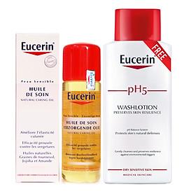Eucerin Natural Caring Oil, dầu chống rạn da bà bầu (125mL, free sữa tắm pH5 200mL)