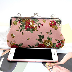Women Vintage Coin Purse Floral Canvas Card Cellphone Pouch Clasp Bag with Chain Strap