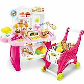 (Phiên bản mới 40 chi tiết, có xe đẩy đồng bộ) Bộ đồ chơi phụ kiện cửa hàng bán kem và kẹo ngọt cho búp bê có sử dụng pin (màu ngẫu nhiên)