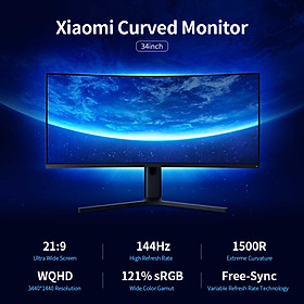 Xiaomi Monitor 34'' Curved Gaming Monitor WQHD Curved Surface Screen Wide Viewing Angle Monitor 144Hz High Refresh Rate