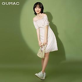 Đầm nữ caro bẹt vai GUMAC DB1169