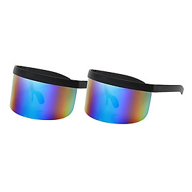 2x Unisex Retro Large Visor Sunglasses Flat Top Mono Lens Shield UV400 Eyewear