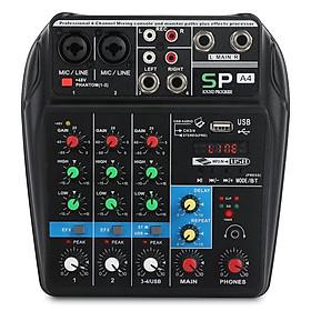 Bàn điều khiển trộn âm thanh A4 với ghi âm Bluetooth 4 kênh mixer Audio cho hiệu suất giai đoạn gia đình K bài hát
