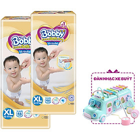 Combo 2 Tã Quần Bobby Extra Soft Dry XL46 - Tặng 1 Đàn Nhạc Xe Bus