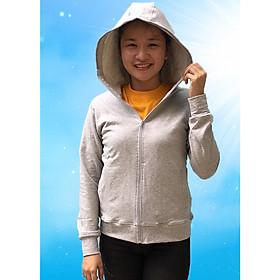 Áo khoác nữ chống nắng GOKING vải da cá 100% cotton dày, công nghệ Nhật Bản thoáng khí - Xám nhạt - 13