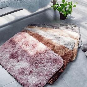 Thảm chùi chân, thảm lau chân lông xù loang cao cấp siêu mềm mịn, đế chống trơn trượt, thiết kế dễ vệ sinh - Giao màu ngẫu nhiên