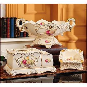 Set đồ sứ để bàn hoa phù dung sang trọng GS23
