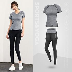 Set bộ tập Gym nữ - Quần dài lưng cao và áo thun thể thao