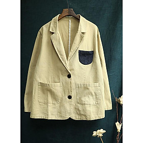 Áo vest Blazer Linen nữ dáng lửng phối túi ngực ArcticHunter, chất vải linen tự nhiên, thời trang thương hiệu chính hãng