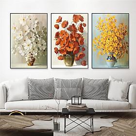 Bộ 3 tranh treo tường trên nền canvas hoa đẹp trang trí phòng khách và phòng ngủ nhiều kích cỡ Tipo_0307_SS