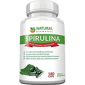 Spirulina Capsules Organic - Highest Quality of Blue Green Algae from California & Hawaii Without Pesticides – 100% Vegetarian & Vegan – Non-GMO – Best Green Superfood - 30 Day Supply