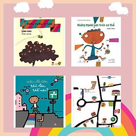 """Combo 4 cuốn Ehon với chủ đề """"Vừa học vừa chơi cùng Gomi Taro"""". Bao gồm: Những người bạn trên cơ thể, Đi đến tận đâu?, Nếu là cậu thì làm thế nào?, Châu chấu đi dạo."""