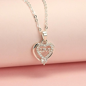 Dây chuyền bạc nữ, vòng cổ bạc nữ hình trái tim đính đá đẹp tinh tế DCN0379