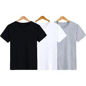 Combo 3 áo thun trơn nam thời trang VHL màu trắng đen xám