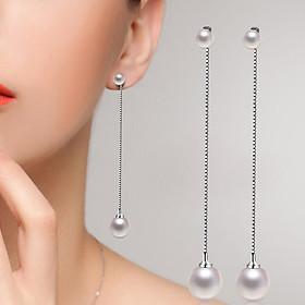 Hình đại diện sản phẩm Women Fashion Faux Pearl Pendant Earrings Long Dangle Chain Ear Stud Jewelry