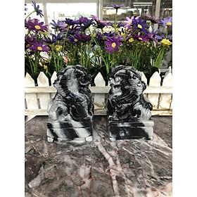 Cặp Kỳ Lân phong thủy đá cẩm thạch vân đen - Cao 12 cm