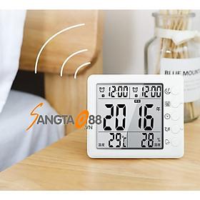 Đồng hồ thông minh đo nhiệt độ độ ẩm trong gia đình T10 (Tặng bộ 6 con bướm dạ quang phát sáng)