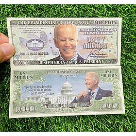 Tờ tiền 1 Triệu Đô Mỹ lưu niệm chân dung tổng thống Biden của Mỹ, quà tặng lưu niệm độc đáo - kèm túi nilon bảo quản