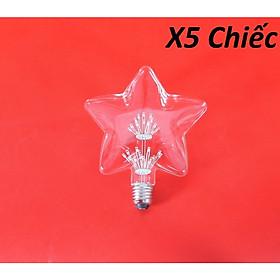 Bộ 5 bóng đèn led trang trí hình ngôi sao, đèn trang trí độc đáo hàng chính hãng