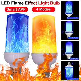 Smart APP LED Flame Effect Light Bulb 4 Modes With Upside Down Effect 2 Pack E26