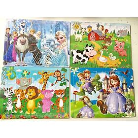 Combo 04 tranh ghép hình 60 mảnh BK - Sofia, Elsa, nông trại, con vật