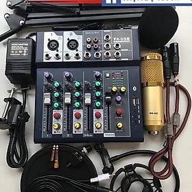Combo trọn bộ sound card Mixer F4 USB thu âm livestream, karaoke cực hay, Micro BM-900, Kẹp bàn màng lọc, tai nghe kiểm âm 450P