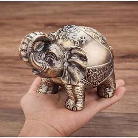 gạt tàn thuốc lá con voi đứng bằng đồng ( tặng kèm mở bia 2in1)