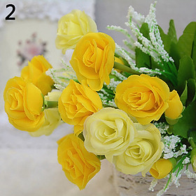 10 Heads/1 Bouquet Handmade Wedding Party Home Decoration Artificial Rose Flowers