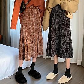[4 Màu]_Chân váy hoa nhí siêu hot -chân váy midi dài qua gối hot trend 2020