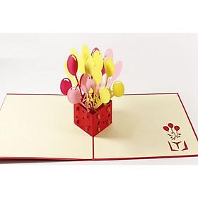 Thiệp 3d - Món quà sinh nhật bóng bay 2 - NV56
