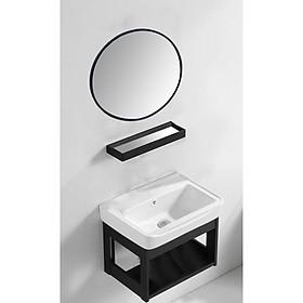 Bộ tủ chậu lavabo mini - COMBO 4 Món Tủ Chậu Lavabo + Gương + Kệ Gương Thông Minh Gọn Gàng Sang Trọng Cho Phòng Tắm